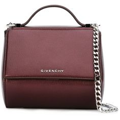 Givenchy Pandora Box Crossbody found on Polyvore featuring bags, handbags, shoulder bags, purses, violet, red shoulder bag, chain shoulder bag, shoulder handbags, red purse and man shoulder bag