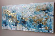 Resumen oro y azul gran pintura arte abstracto abstracto