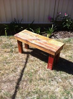DIY Pallet Bench - look for pallets marked HT (heat treated) NOT MB (methylene bromide - scary chemical)