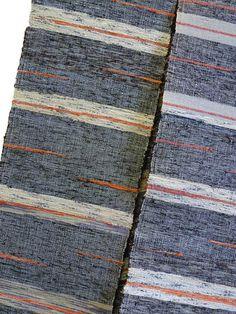 Sri | A Sakiori Obi: Ragweave in Greys and Oranges - beautiful!  I love the stripes with the orange streaks!