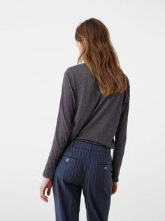 209a27a333 MANGO Flecked Long Sleeve T-shirt Grey Crepe Fabric, Stripes Design, Cami,.  Superbalist