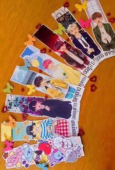 BTS Bookmarks sold by on Storenvy Arte Van Gogh, Creative Bookmarks, Kpop Diy, Arte Sketchbook, Bts Pictures, Family Pictures, Kpop Drawings, Chalk Drawings, Bts Merch