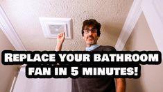 Replace Your Bathroom Fan in 5 Minutes FLAT! NO Attic Access! - YouTube Bathroom Exhaust Fan, Bathtub Ideas, Bathroom Ideas, Attic, Bath Remodel, Farm House, Tiny House, Ceiling Fan, Organizing Ideas