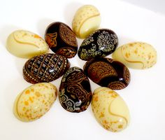 Beautifully Decorated White and Dark Chocolate Easter Eggs