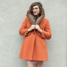 vintage BURNT ORANGE fur trimmed coat