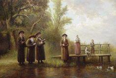 Elena Flerova -Tashlich 3- Jewish Art Oil Painting