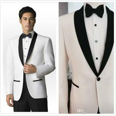 2016 Trends Black And White Shawl Lapel Groom Suits/Wedding Suits For Men/Groom Tuxedos 3 Peices SuitsJacket+Pants+TieCm 83110 White Prom Tux White Tie Formal From Brucesuit, $132.67| Dhgate.Com