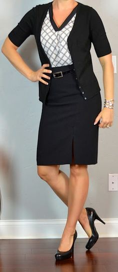 Outfit Posts: outfit post: black pencil skirt, black & white print blouse, black cardigan, black pumps