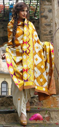 Multicoloured Khadi Odhani with Bagh Embroidery by Pranavi Kapur at Indianroots.com
