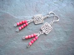 Sterling Silver Earrings / Filigree / Pink / Square / by FOLIOSA, $15.00