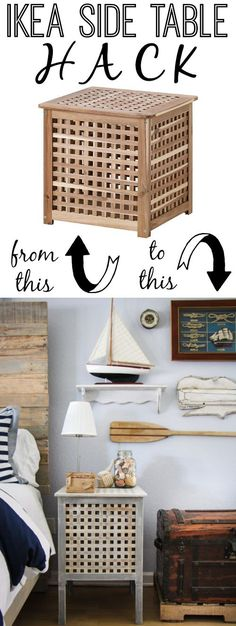 IKEA Hack: Hol Side Tables in a Rustic Nautical Master Bedroom Makeover via thinkingcloset.com.  It's amazing what a difference heightened legs and a little white-washing can make!