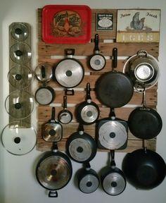 Pallet wall pot & pan hanger