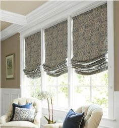 Perfect Wall Color for the Kitchen and Breakfast Nook. Relaxed Roman Shade in Classic Damask/Steel from Smith + Noble