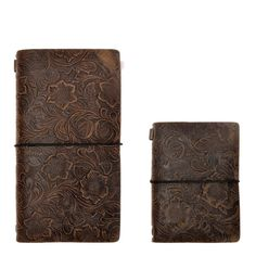 Amazon.com : ZLYC Vintage Handmade Refillable Leather Flowers Emboss Travelers Journals Diary Notepad Notebook, Set of Two, Dark Coffee : Office Products