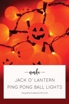 Orange ping pong balls plus fairy lights equal a fun Halloween Jack O' Lantern…