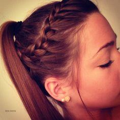 7 Cute Braid Styles Moms Can Steal From Their Daughters (PHOTOS) Braided & Ponytail - Hairstyles and Pretty Hairstyles, Braided Hairstyles, Prom Hairstyles, School Hairstyles, Updo Hairstyle, Braided Updo, Softball Hairstyles, Modern Hairstyles, Braided Cheer Hair