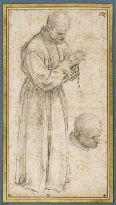 Inventaire du département des Arts graphiques - Religieux debout, tenant un rosaire et étude de sa tête - VANNI Francesco