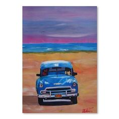 """East Urban Home Magnificient Blue Oldtimer in Cuba at Beach' by M Bleichner Original Painting Size: 10"""" H x 8"""" W"""