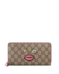 GUCCI Embroidered-Face Zip-Around Wallet, Multicolor/Rose. #gucci #
