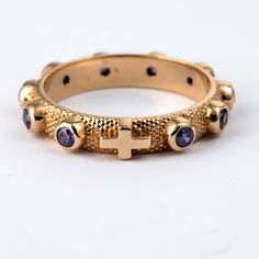 Prayer ring single decade in 800 silver with purple zircon | online sales on HOLYART.co.uk