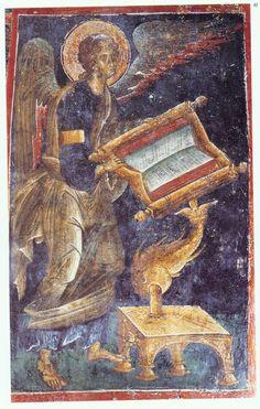 manuel-panselinos-from-the-holy-church-of-the-protaton (125) Fresco, Byzantine Art, Byzantine Icons, Religious Icons, Religious Art, Mural Painting, Mural Art, Greek Mythology Art, Roman Mythology