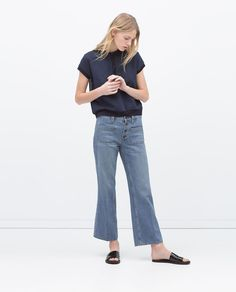 SHORT FLARED JEANS-View all-Jeans-WOMAN | ZARA United States