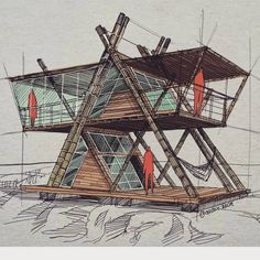 Architectural sketches 298645019042537617 - Source by Tyni House, Tiny House Cabin, Cabin Homes, A Frame House Plans, A Frame Cabin, Small House Plans, Timber Architecture, Architecture Design, Amazing Architecture