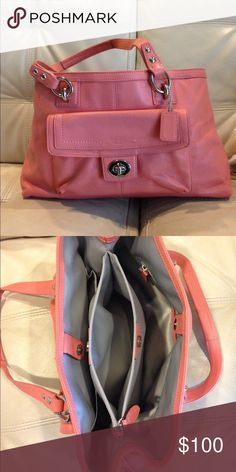 👛Friday Special👛Coach Shoulder Bag Coral coach bag perfect for summer. Great inside pockets for organization. Brand new only used a couple times. Coach Bags Shoulder Bags