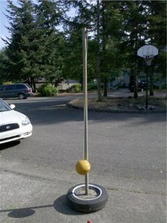 Volleyball post from a tire my styles pinterest for Homemade basketball court