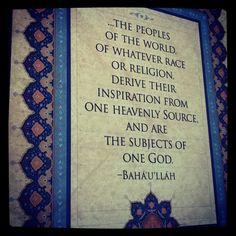 Unity of God, Unity of Religion, Unity of Mankind.