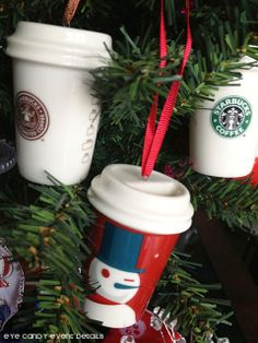 Starbucks ornaments via Eye Candy Event Details #starbucks #starbucksdecor #starbucksholiday