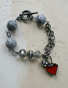 The One Heart Bracelet - Handmade Soldered Heart and Agate
