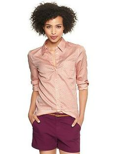 Fitted boyfriend print shirt | Gap