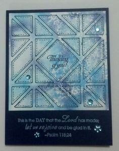 handmade quilt card: MMTPT397 Watercolored Quilt by muscrat  ... die cut with diagonal squares quilt block die ... monochromatic blues ...