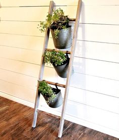 Ladder Planter With Metal Buckets