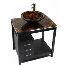 Bionic Cappuccino 31-in x 22-in Dark Venge Single Sink Bathroom Vanity with Tempered Glass Top (Faucet Included)