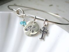Silver Initial, Cross & Birthstone Bangle Bracelet - Confirmation Gift -  Hand Stamped Charm - Sterling - Custom Personalized