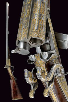 An outstanding double-barrelled pin-fire/percussion shotgun by Francis Marquis.  provenance:	 	Paris dating:	 	 third quarter of the 19th Century
