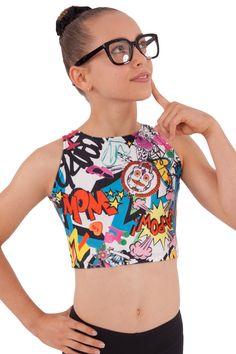 Comic Cropped Singlet By Sylvia P $26AUD #sylviapgymnastics #gymnastics #croptop #clothes #design