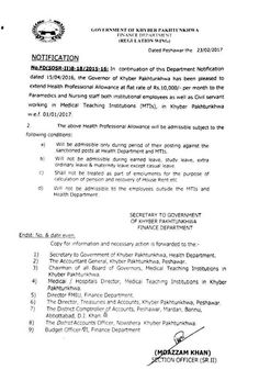 Extension in Health Professional Allowance KPK