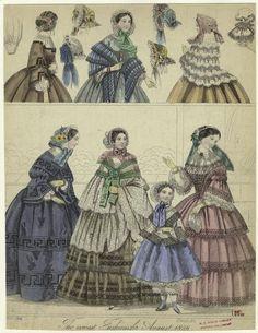 Periodical unknown, British origin. August 1856. NYPL Digital Gallery. Civil War Era Fashion Plate