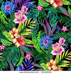 amazing seamless tropical pattern. lots of exotic leaves and flowers in large dramatic composition. with palm leaves, hibiscus, and other popular plants.