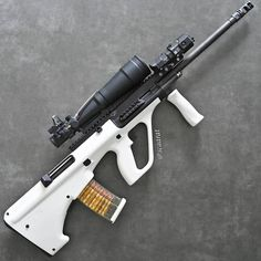 I called her Stormtrooper DMR earlier. But in this photo, she looks like an Ice Queen. Any better suggestions for a nickname? 🇦🇹 Steyr AUG… Source by Weapons Guns, Airsoft Guns, Guns And Ammo, Custom Guns, Steyr, Hunting Rifles, Cool Guns, Military Weapons, Revolver