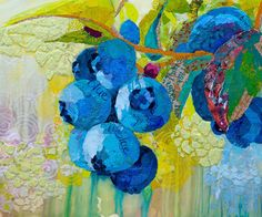 """Blueberry collage by Elizabeth St. Hilaire Nelson. She calls these """"paper paintings."""" Below, the Robin."""