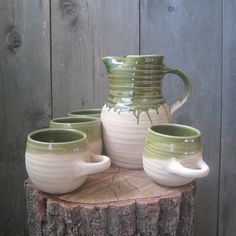 Border Ware Style Pitcher and 4 Porringers. $75.00, via Etsy.