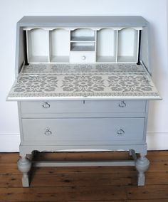 Painted and stencilled writing bureau.  nicolettetabram.co.uk