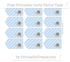 Diy baby shower amazing decorations games and food elephant need some cute tags to tie onto your baby shower take home treat bags youll love these fun pastel blue diagonal striped elephant party favor tags that you negle Image collections