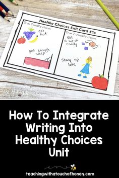 Looking for ways to integrate writing into your unit on making healthy choices? Students can write mini books, keep a journal, use hot seat questions, extend the anticipation guide, and complete exit cards. Writing Lesson Plans, Writing Lessons, Kids Writing, Writing Ideas, Health Activities, Spring Activities, Learning Styles, Fun Learning, Report Writing