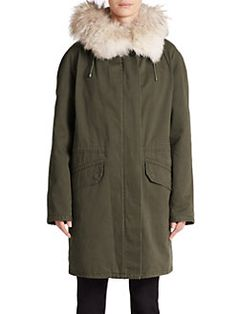 Army by Yves Salomon - Fur-Trimmed Cotton Parka