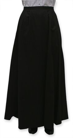 1800s Ladies Black Cotton Solid Dress Skirt | 19th Century | Historical | Period Clothing | Theatrical || Cotton Twill Walking Skirt - Black